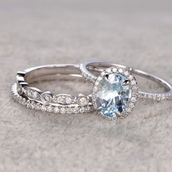 3pcs Aquamarine Ring Bridal Set,Engagement ring White gold,Diamond wedding band,14k,6x8mm Oval Cut,Blue Gemstone Promise Ring,Matching Band