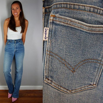Levis High Waist Jeans, Big E LEVI's // vintage 60s 70s Levi's denim blue boho hippie pants faded hippy hipster bohemian cotton // XS