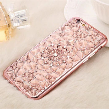 2017New Luxury 3D Electroplating Flowers Rhinestone Bling Soft T. iPhone  case 88bd02cc0258
