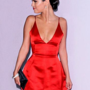HOT RED DEEP V STRAPS DRESS