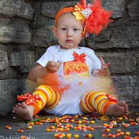 Baby Girl Tutu Outfit for Halloween - Candy Corn Sweetie - personalized bodysuit, leg warmers, tutu, and Over The Top bow