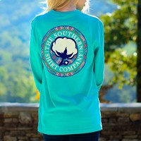 Tunisian Logo Long Sleeve Tee in Turquoise by The Southern Shirt Co.