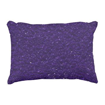 Royal Purple Faux Glitter Look Bling Accent Pillow