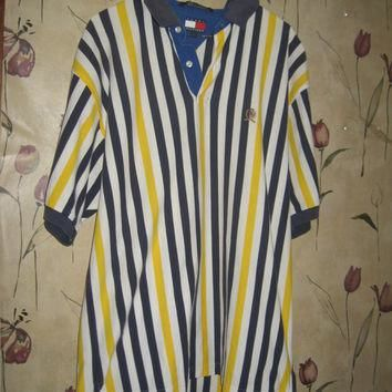 Vintage Tommy Hilfiger oversized yellow navy white preppy polo shirt size large