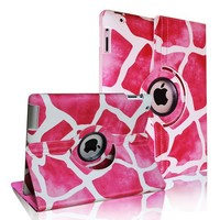 FINTIE (Giraffe) 360 Degree Stylish Rotating Magnetic Case Smart Cover With Swivel Stand For Apple iPad 4th Generation Retina Display / the new iPad 3 / iPad 2 (Wake/sleep Function)