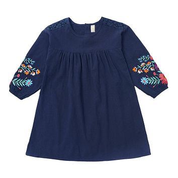 Girls cute embroidered long sleeves dress autumn new large childrens cotton lantern sleeve doll dresses kids clothes