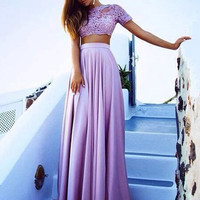 Short Sleeve Two Piece Lavender Prom Dresses,Evening Dresses