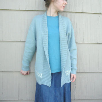 Open Front Cardigan Sweater, Hand Knit, Aquamarine, Geometric Intarsia, Luxury Alpaca Wool Angora, M L, Long Sleeves, Cuddly & Cozy