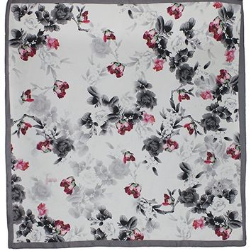 Dahlia Women's 100% Square Silk Scarf - Elegant Rose Tree Neckerchief
