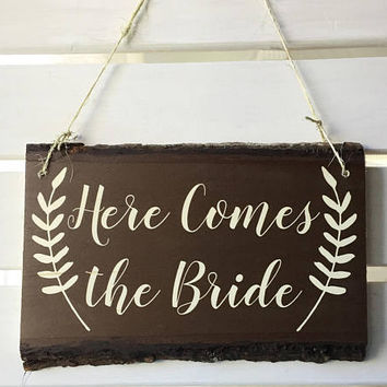 HERE COMES the BRIDE: Rustic Wedding Decor, Print on Wood, Wedding Sign, Boho Wedding, Wood Wedding Decor, Basswood Plank, Basswood Slice,