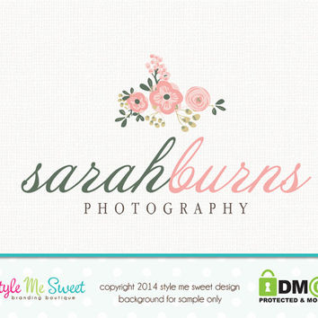 Premade Photography Logo -  hand drawn beautiful blooms Photographer Photography Small Business Logo