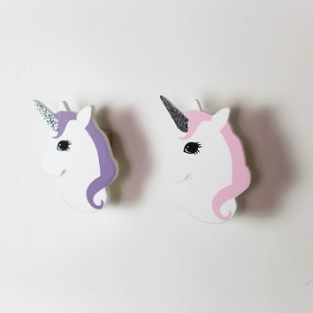Nordic Style Cute Unicorn Shape Wooden Wall Sticker Girl's Room Wall Hanging Hook Home Decor