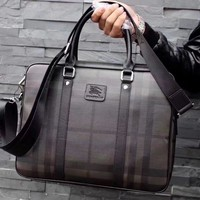 Burberry Men Leather Briefcase Bag Inclined Shoulder Bag
