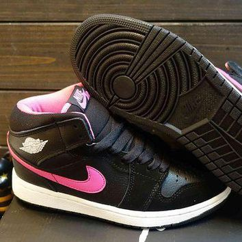 DCCKIJ2 Women's Nike Air Jordan 1 Retro High Leather Basketball Pink Black
