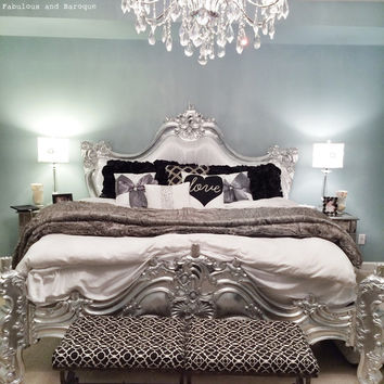 Fabulous and Baroque — Royal Fortune Montespan Bed - Silver Leaf & White Silk - Client Photo
