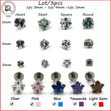 BOG-Lot 3Pcs Cubic Zirconia Gem Labret Monroe Lip Stud Ear Cartiliage Tragus Helix Piercing stud Ring 16g Body Jewelry