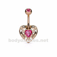 Rose Gold Vintage Filigree Heart with Heart Crystal Center 316L Surgical Steel Belly Button Navel Rings
