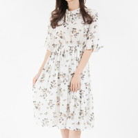 Floral Frilled Neck Dress | mixxmix
