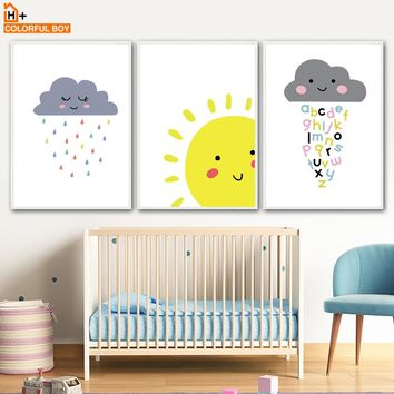 Cartoon Cloud Sun Moon Wall Art Canvas Painting Nordic Posters And Prints Canvas Art Nursery Wall Pictures Baby Kids Room Decor