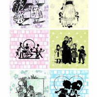 children silhouettes pastel patterns collage sheet 3.4 inch squares images clip art digital downloadable graphics images diy crafts cards