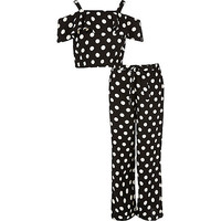 Girls black polka dot bardot outfit