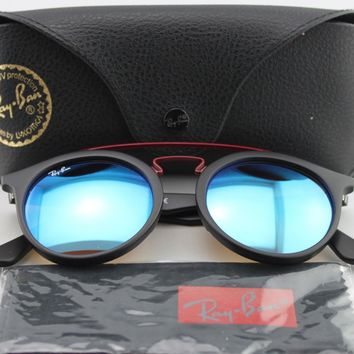 Cheap New Ray-Ban RB 4256 6252/B7 Gatsby I Matte Black / Blue Flash Sunglasses outlet