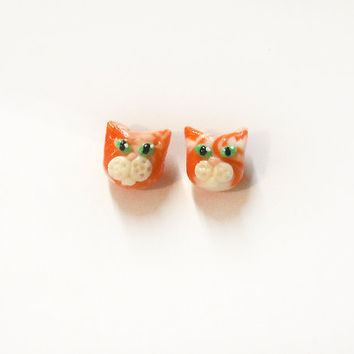 Orange cat earrings cute in porcelain hypoallergenic studs ideal for sensitive ears shaped by hand, gift idea for birthday, woman, girl