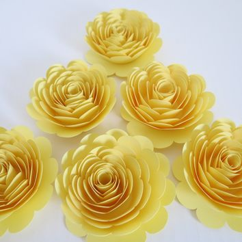 "Big Pastel Yellow Paper Flowers, 6 Wedding Roses, 3"" floral centerpiece ideas, Neutral Baby Shower Decor, Bridal Party Decorations"