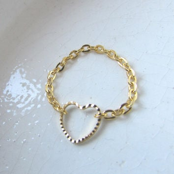 14k Gold plated Hollow Heart Ring, Heart cutout chain ring
