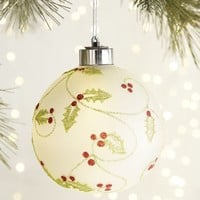 LED Holly Round Ornament
