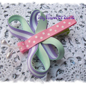 UNIQUE Dragonfly Stripes and Dots 2 layers Grosgrain Ribbon Sculpture Bugs Family Hair accessories and clips