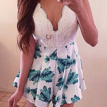 White Printed Pleated Dress