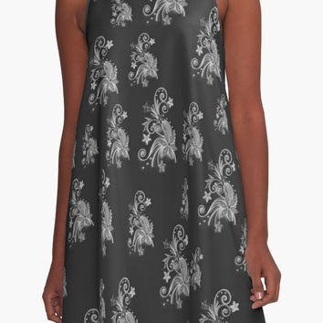 'Gray flowers on black, ornament, asymetric floral design' A-Line Dress by cool-shirts
