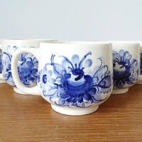 Five hand painted blue floral mugs by Z F Kolo, Poland, delft blue floral design