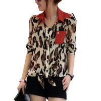 Amazon.com: Allegra K Women Long Sleeve Leopard Prints Semi Sheer Chiffon Blouse XS: Clothing