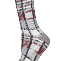 Checked Ankle Socks - Grey