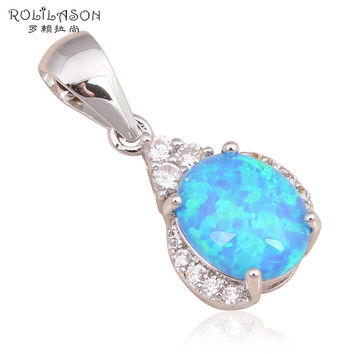 New Zirconia Blue Fire Opal 925 Silver Pendent Locket