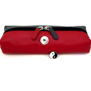 Cosmetic Bag, Toiletry bag, red leather bag, red cosmetic bag, leather cosmetic bag, yin and yang, snap in charm, gray bag, gingersnaps