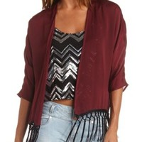 Hammered Satin Fringe Kimono Top by Charlotte Russe - Oxblood
