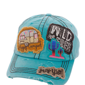 Happy Camper Wild & Free Hey Ya'll Distressed Cotton Baseball Cap Hat Turquoise, Embroidered On Torn Denim Decor