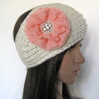 Ivory Knit Ear Warmer Headband Head Wrap with Gorgeous Peach Coral Chiffon Flower with Pearl and Rhinestones