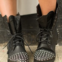 Boots with Studs and Side Zipper - Black from Boots at Lucky 21