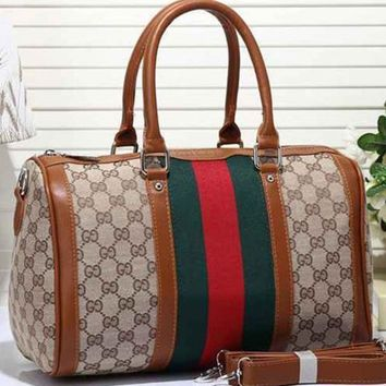 Gucci Women Leather Luggage Travel Bags Tote Handbag-1