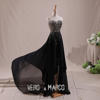 Black sweetheart neckline high-low ruched beaded A-line chiffon satin prom evening dress club party dress ET240