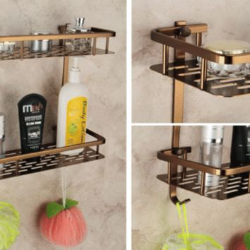 Antique bathroom accessories Comestics Bathing items Double Shelves Rack holder