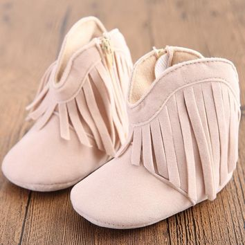 Girl Faux Suede Cowboy Booties With Fringe Detail