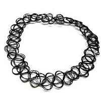 1- Tattoo Choker Necklace Black Henna 90's Style Grunge Wrap Around Neck Faux Tattoo Looking Trendy Jewelry Inv0148