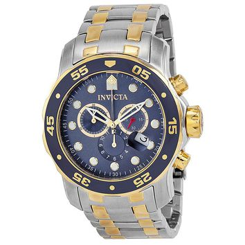 Invicta Pro Diver Chronograph Blue Dial 18kt Gold-plated Mens Watch 0077