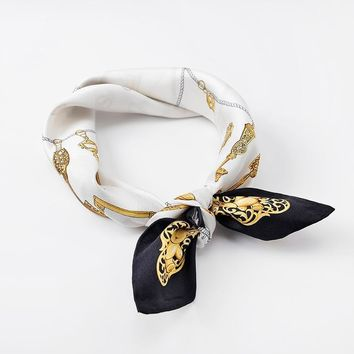 White Scarf Bandana Women Men Keys Printing Brand Design Small Square Headband Hairband Neck Head Scarf 55*55cm