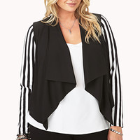 FOREVER 21 PLUS Stripe-Sleeve Chiffon Jacket Black/White 1X